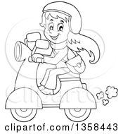 Clipart Of A Cartoon Black And White Happy Girl Riding A Scooter Royalty Free Vector Illustration by visekart