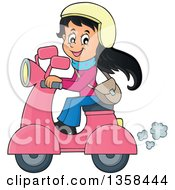 Clipart Of A Cartoon Happy Girl Riding A Pink Scooter Royalty Free Vector Illustration