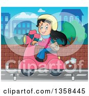 Clipart Of A Cartoon Happy Girl Riding A Pink Scooter On A City Street Royalty Free Vector Illustration by visekart