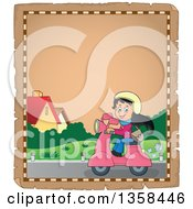 Clipart Of A Parchment Page Of A Cartoon Happy Girl Riding A Pink Scooter Royalty Free Vector Illustration by visekart