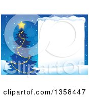 Clipart Of A Silhouetted Christmas Tree With A Glowing Star Next To A Blank Sign With Snow Royalty Free Vector Illustration