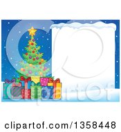 Clipart Of A Christmas Tree With Gifts Next To A Blank Sign With Snow Royalty Free Vector Illustration