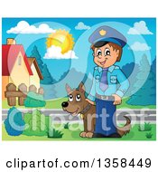 Cartoon White Male Police Officer With A Dog In A Neighborhood