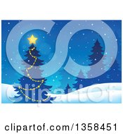 Clipart Of A Glowing Star On An Outdoor Christmas Tree With Evergreens In The Snow Royalty Free Vector Illustration