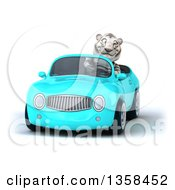 Clipart Of A 3d White Tiger Driving A Light Blue Convertible Car On A White Background Royalty Free Illustration by Julos