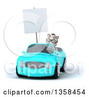Clipart Of A 3d White Tiger Holding A Blank Sign And Driving A Light Blue Convertible Car On A White Background Royalty Free Illustration by Julos