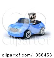 Clipart Of A 3d White Tiger Wearing Sunglasses And Driving A Blue Convertible Car On A White Background Royalty Free Illustration by Julos