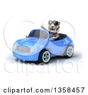 Clipart Of A 3d White Tiger Wearing Sunglasses Giving A Thumb Up And Driving A Blue Convertible Car On A White Background Royalty Free Illustration by Julos