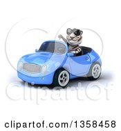 Clipart Of A 3d White Tiger Wearing Sunglasses Giving A Thumb Down And Driving A Blue Convertible Car On A White Background Royalty Free Illustration by Julos