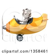 Clipart Of A 3d White Tiger Aviator Pilot Flying A Yellow Airplane On A White Background Royalty Free Illustration by Julos