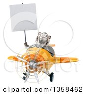 Clipart Of A 3d White Tiger Aviator Pilot Holding A Blank Sign And Flying A Yellow Airplane On A White Background Royalty Free Illustration by Julos