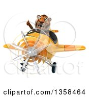 Clipart Of A 3d Tiger Aviator Pilot Giving A Thumb Up And Flying A Yellow Airplane On A White Background Royalty Free Illustration