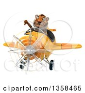 Clipart Of A 3d Tiger Aviator Pilot Giving A Thumb Down And Flying A Yellow Airplane On A White Background Royalty Free Illustration