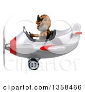 Clipart Of A 3d Tiger Aviator Pilot Wearing Sunglasses And Flying A White And Red Airplane On A White Background Royalty Free Illustration