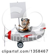 Clipart Of A 3d Tiger Aviator Pilot Wearing Sunglasses Holding A Blank Sign And Flying A White And Red Airplane On A White Background Royalty Free Illustration