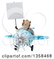 Clipart Of A 3d Tiger Aviator Pilot Holding A Blank Sign And Flying A Blue Airplane On A White Background Royalty Free Illustration