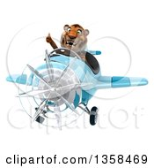 Clipart Of A 3d Tiger Aviator Pilot Giving A Thumb Up And Flying A Blue Airplane On A White Background Royalty Free Illustration