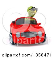 Clipart Of A 3d Tortoise Wearing Sunglasses And Driving A Red Convertible Car On A White Background Royalty Free Illustration