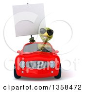 Clipart Of A 3d Tortoise Wearing Sunglasses Holding A Blank Sign And Driving A Red Convertible Car On A White Background Royalty Free Illustration