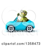 Clipart Of A 3d Bespectacled Tortoise Giving A Thumb Down And Driving A Blue Convertible Car On A White Background Royalty Free Illustration