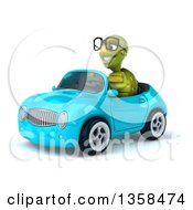 Clipart Of A 3d Bespectacled Tortoise Driving A Blue Convertible Car On A White Background Royalty Free Illustration