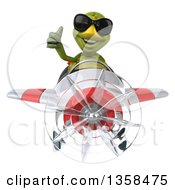 Clipart Of A 3d Tortoise Aviator Pilot Wearing Sunglasses Giving A Thumb Up And Flying A White And Red Airplane On A White Background Royalty Free Illustration