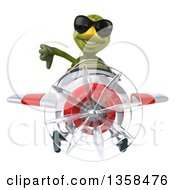 Clipart Of A 3d Tortoise Aviator Pilot Wearing Sunglasses Giving A Thumb Down And Flying A White And Red Airplane On A White Background Royalty Free Illustration
