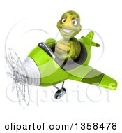 Clipart Of A 3d Tortoise Aviator Pilot Flying A Green Airplane On A White Background Royalty Free Illustration