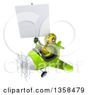 Clipart Of A 3d Tortoise Aviator Pilot Holding A Blank Sign And Flying A Green Airplane On A White Background Royalty Free Illustration