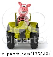 Clipart Of A 3d Pig Operating A Green Tractor On A White Background Royalty Free Illustration