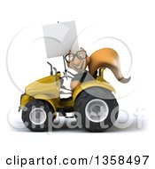 Clipart Of A 3d Bespectacled Business Squirrel Holding A Blank Sign And Operating A Tractor On A White Background Royalty Free Illustration