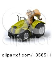 Clipart Of A 3d Bespectacled Squirrel Operating A Green Tractor On A White Background Royalty Free Illustration