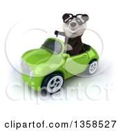 Clipart Of A 3d Bespectacled Panda Giving A Thumb Down And Driving A Green Convertible Car On A White Background Royalty Free Illustration