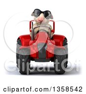 Clipart Of A 3d Sheep Wearing Sunglasses And Operating A Red Tractor On A White Background Royalty Free Illustration by Julos