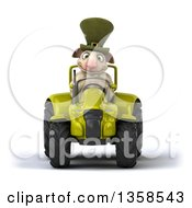 Clipart Of A 3d Irish Sheep Operating A Green Tractor On A White Background Royalty Free Illustration by Julos