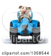 Clipart Of A 3d Sheep Operating A Blue Tractor On A White Background Royalty Free Illustration