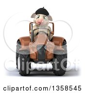 Clipart Of A 3d French Sheep Operating A Brown Tractor On A White Background Royalty Free Illustration