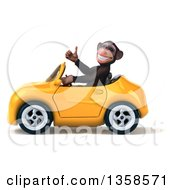 Clipart Of A 3d Chimpanzee Monkey Giving A Thumb Up And Driving A Yellow Convertible Car On A White Background Royalty Free Illustration