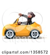 Clipart Of A 3d Chimpanzee Monkey Giving A Thumb Down And Driving A Yellow Convertible Car On A White Background Royalty Free Illustration