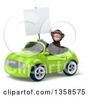 Clipart Of A 3d Chimpanzee Monkey Holding A Blank Sign And Driving A Green Convertible Car On A White Background Royalty Free Illustration