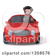 Clipart Of A 3d Chimpanzee Monkey Wearing Sunglasses And Driving A Red Convertible Car On A White Background Royalty Free Illustration