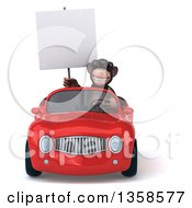 Clipart Of A 3d Chimpanzee Monkey Wearing Sunglasses Holding A Blank Sign And Driving A Red Convertible Car On A White Background Royalty Free Illustration