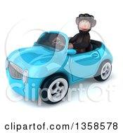 Clipart Of A 3d Chimpanzee Monkey Wearing Sunglasses And Driving A Blue Convertible Car On A White Background Royalty Free Illustration