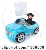 Clipart Of A 3d Chimpanzee Monkey Wearing Sunglasses Holding A Blank Sign And Driving A Blue Convertible Car On A White Background Royalty Free Illustration