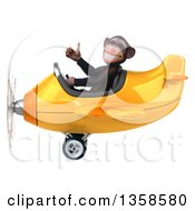 Clipart Of A 3d Chimpanzee Monkey Aviator Pilot Giving A Thumb Up And Flying A Yellow Airplane On A White Background Royalty Free Illustration