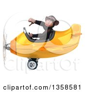 Clipart Of A 3d Chimpanzee Monkey Aviator Pilot Giving A Thumb Down And Flying A Yellow Airplane On A White Background Royalty Free Illustration