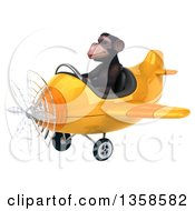 3d Chimpanzee Monkey Aviator Pilot Flying A Yellow Airplane On A White Background