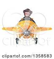 Clipart Of A 3d Chimpanzee Monkey Aviator Pilot Flying A Yellow Airplane On A White Background Royalty Free Illustration by Julos