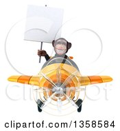 Clipart Of A 3d Chimpanzee Monkey Aviator Pilot Holding A Blank Sign And Flying A Yellow Airplane On A White Background Royalty Free Illustration