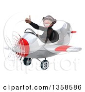 Clipart Of A 3d Chimpanzee Monkey Aviator Pilot Giving A Thumb Up And Flying A White And Red Airplane On A White Background Royalty Free Illustration